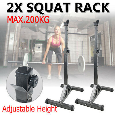 2 x Squat Rack Bench Press Adjust Barbell Stand Home Gym Weight Lifting Fitness