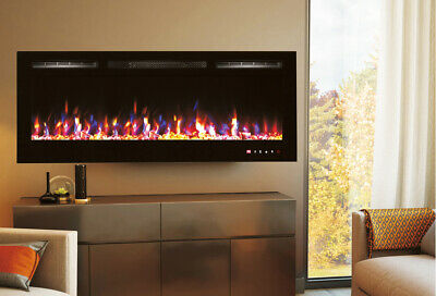 """50"""" Black Built-In Recessed Wall Mounted Electric Fireplace, Heater"""