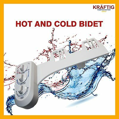 Hot And Cold Bidet Easy Toilet Water Wash Unisex Clean Seat Dual Nozzle Bathroom
