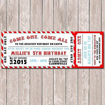 Circus Carnival Personalised Ticket Style Birthday Invitations x 10