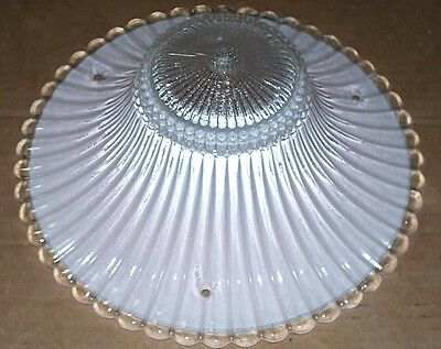 Vintage 3 Chain Pink Ceiling Light Fixture Art Deco Shade Hanging, Lamp, Chipped