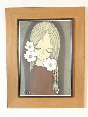 """1970 Original Signed Print Shuzo Ikeda Number 47/100 """"girl With Hibiscus"""""""