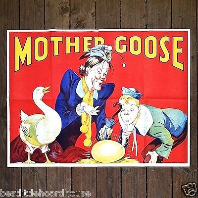 LARGE Vintage 1930s MOTHER GOOSE VAUDEVILLE PLAY THEATER Show Lithograph Poster