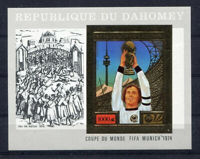 s5108)DAHOMEY 1974 MNH** WC Football - CM Calcio S/S GOLD Beckenbauer IMPERF