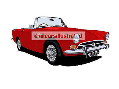Sunbeam Alpine Car Art Print (Size A3). Choose Your Colour, Add Your Reg Plate