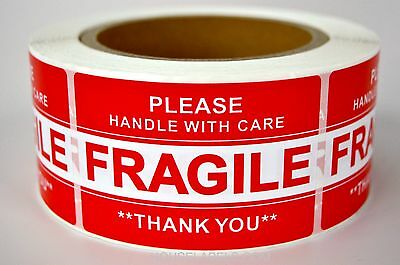 """1 Roll ; 500 Labels 2x3 (2"""" x 3"""") Pre-Printed Fragile HANDLE WITH CARE Labels"""