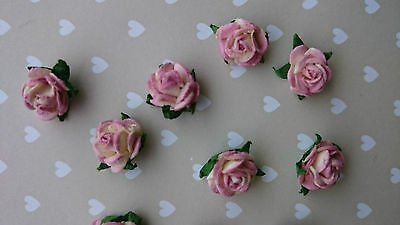 2 tone Mulberry Paper Roses, Shabby Chic Pink, 10mm, Wedding, Craft, Scrapbook