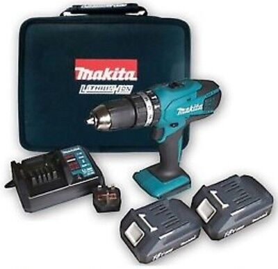 Makita 18v Lithium--ion Cordless Hammer Combi Drill with 2 Batteries - Li-ion