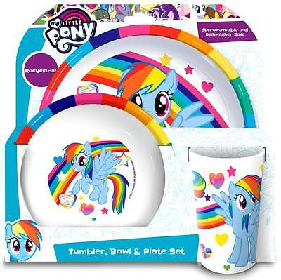My Little Pony 3-Piece Dinner Set | Tableware | Melamine Tumbler, Bowl and Plate