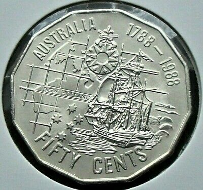 1988 Uncirculated Bicentenary Fifty 50 Cent Coin - Tall Ships - Ex Ram Mint Roll