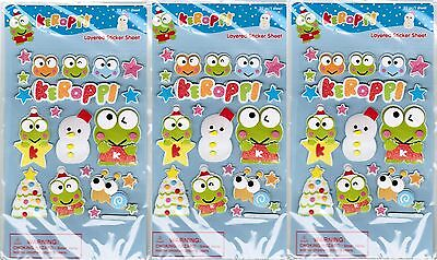 SANRIO KEROPPI Frog LAYERED Holiday Winter Stickers! 3 NEW PACKS! Stars!