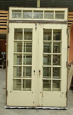 Antique Exterior Pre-Hung French Doors in Frame Jamb Transom Window and Control