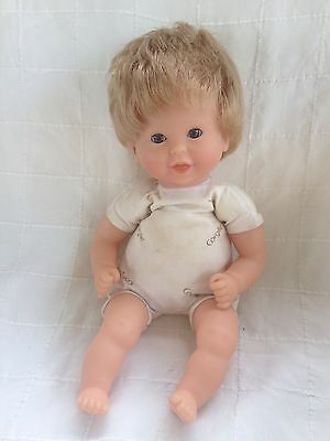 "Corolle Baby 12"" Doll Bean bag cloth vinyl White Print body top two teeth 2005"