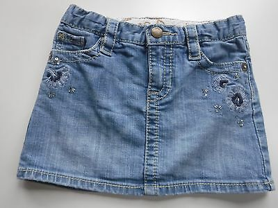 GAP Kids Adjustable Waist Girl's Blue Denim Embellished Skirt size 5 - EUC