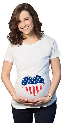 Maternity USA Heart American Flag Announcement Funny Pregnancy T shirt