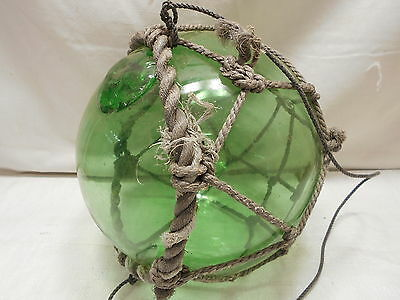 "Vintage Glass Fishing GREEN FLOAT 12"" in Natural ROPE NETTING Japanese #450"
