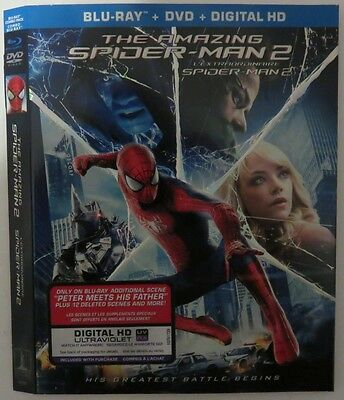 No Discs !! Spider-Man 2 Blu-Ray Dvd Cover Slip Only  No Discs !!  (Inv1243)