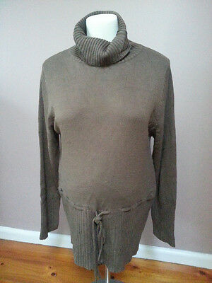"""BNWT """"Madison Rose"""" Maternity Chocolate Brown Turtle Neck with Tie. Size XL."""