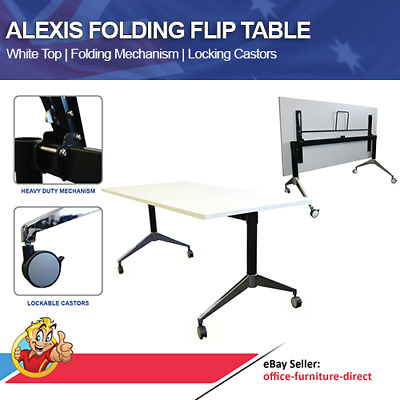 Flip Top Table Eiffel Folding Tables Training Office Meeting Mobile Frame & Top