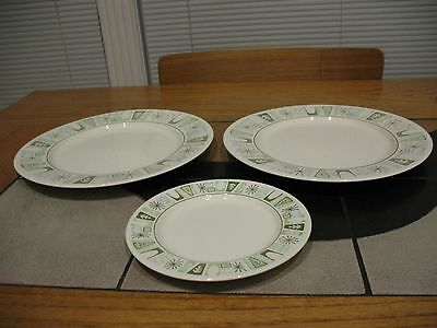 Cathay Pattern, Taylor Smith & Taylor, Two Dinner Plates, One Bread Plate, Aqua