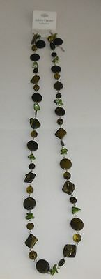 19 Inch Ashley Cooper Green Lucite  Bead And Stone Necklace And Earrings