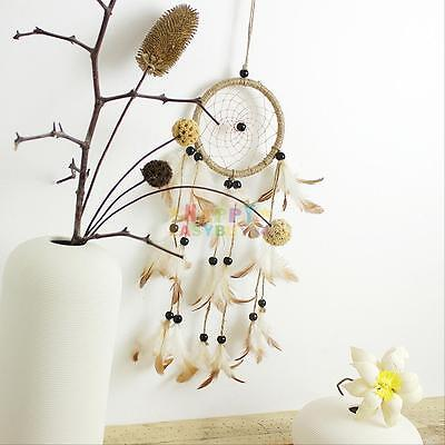 """Dream Catcher brown wall hanging decoration bead ornament feathers Long 14.5"""""""