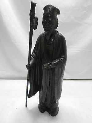 Vintage Bronze Priest Statue from Japan Old Man Seven Gods Circa 1930s #7