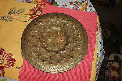 Superb Middle Eastern India Brass Metal Plate Wall Plaque-Hammered Details-LQQK