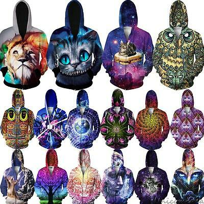 3D Graphic Print Hoodie Unisex Hoody Zip Up Pocket Tracksuit Jumper Jacket Coats