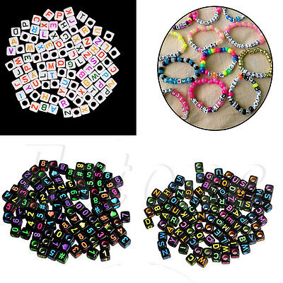 100Pcs 6MM Mixed Acrylic Individual Number Letter Cube Loose Spacer Beads Charm