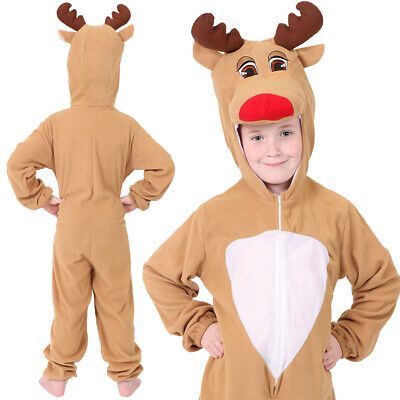 Child Reindeer Costume Rudolph Suit Kids Christmas Fancy Dress Xmas Animal