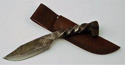 Hand Forged Railroad Spike Fixed Blade Knife with Leather Sheath