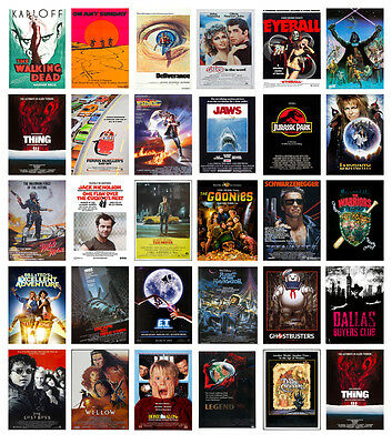 Classic Vintage Movie Posters Jurassic Goonies Jaws Taxi Labyrinth ET Star Wars