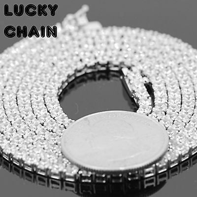"17""-30""925 STERLING SILVER ICED OUT TENNIS CHAIN NECKLACE 3MM 22g-36g PC35"