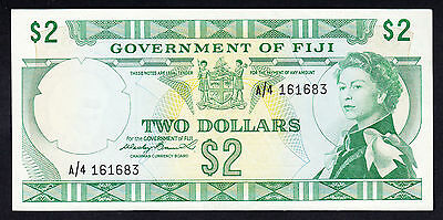 Fiji 2 Dollars $2 ND 1971 QEII gEF Note Rare P. 66a