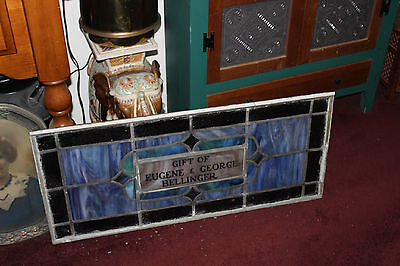Antique Stained Glass Leaded Church Window-Religious-Eugene Bellinger-LARGE