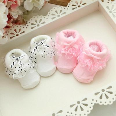 Cute Baby Girls Toddles Newborn Lace Anti-slip Warm Socks Shoes Boots 0-6 Months