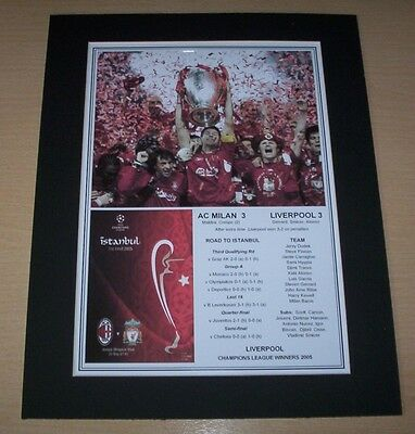 Liverpool - 2005 Champions League Winners Print Mounted To A4