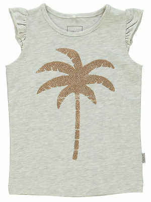 NAME IT kurzarm T-shirt Top Inelly grau gold Palme Größe 92 bis 122/128