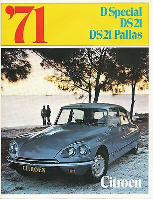 1971 Citroen Ds21 Pallas Special Sales Brochure Literature France - Original