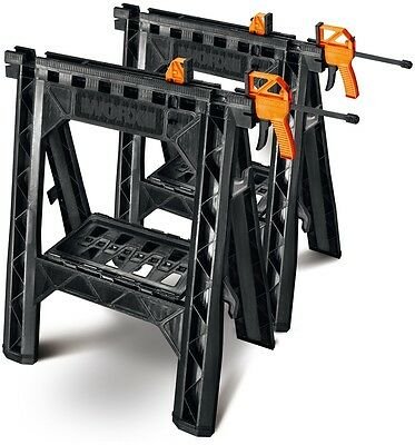 Saw Horse WORX 27 in Inch ABS Plastic 2 Pack W/ Bar Clamps Black