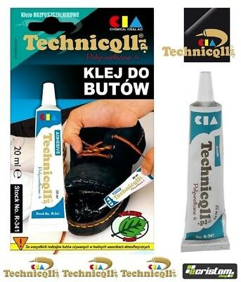TECHNICQLL STRONG ADHESIVE GLUE FOR SHOES BOOTS LEATHER RUBBER LEATHERETTE 20ml