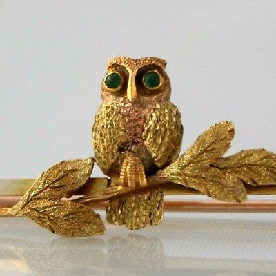 Stunning Antique Late Victorian/ Early Edwardian 9ct Gold Owl Bar Brooch
