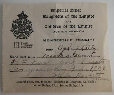 1932 Daughters And Children Of The Empire Membership Receipt
