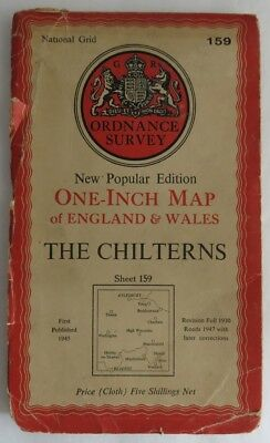 1949 One Inch Linen Map Of England And Wales The Chilterns        (Inv3084)