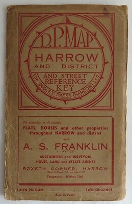 Vintage Linen D.p. Map Harrow And District        (Inv3085)