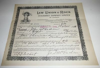 1916 Law Union And Rock Insurance Policy For One Thousand Dollars