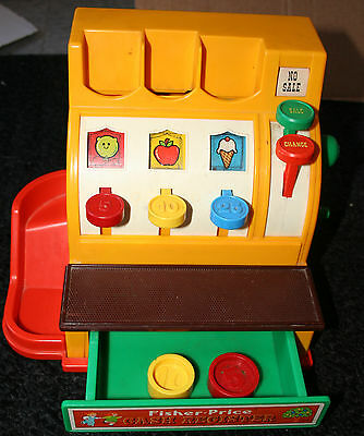 Vintage Fisher Price 926 CASH REGISTER Working with 2 COINS very good