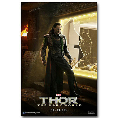 Loki - Thor 2 The Dark World Superheroes Movie Silk Poster 12x18 24x36 inch 001