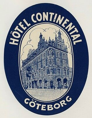 Hotel Continental GÖTEBORG Sweden * Old Luggage Label Kofferaufkleber